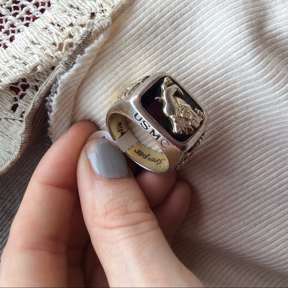 Vintage Other - USMC Military Ring Sterling Onyx Stone